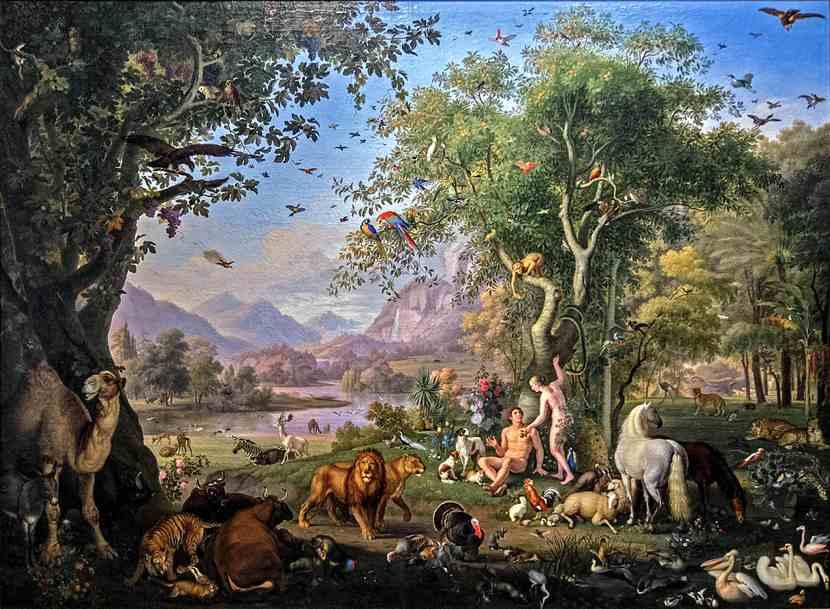 Peter Wenzel, Adamo ed Eva nel Paradiso terrestre: un giardino lussureggiante