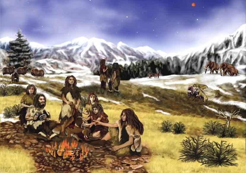 I test genealogici possono risalire fino ai Neanderthal: illustrazione di un gruppo di ominidi