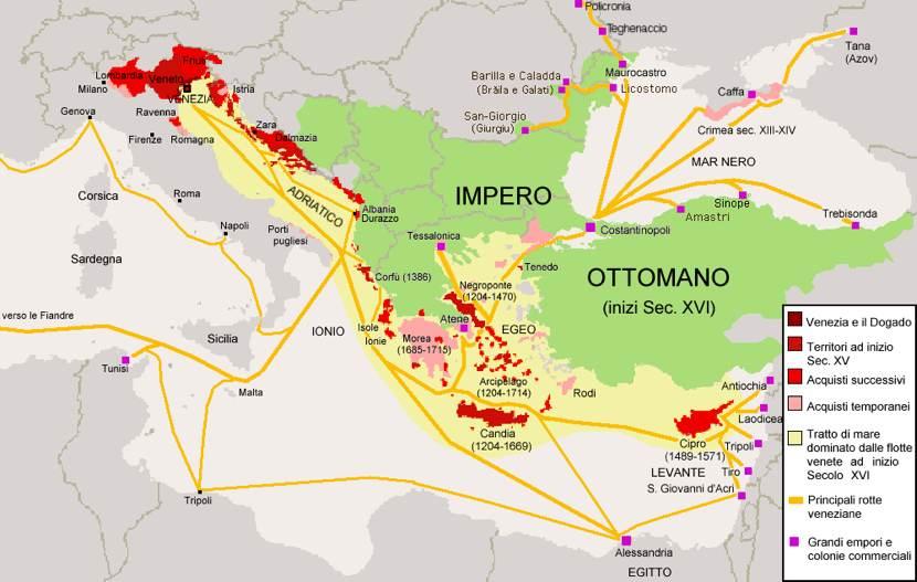 I possedimenti di Venezia nel Mediterraneo orientale